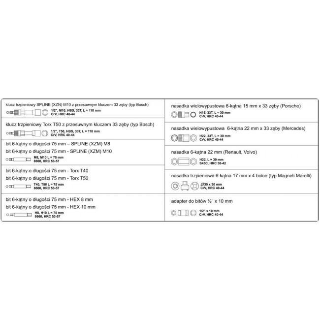 "YT-0421 - Set Biti pentru Alternator 1/2"", 13 piese"