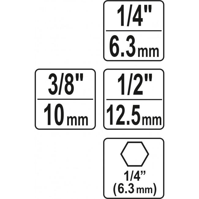 YT-04685 - Set Adaptoare 1/4'', 3/8'', 1/2'' pentru Autofiletanta