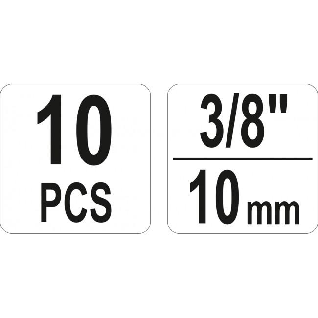 "YT-06031 - Set Extractoare Suruburi si Piulite, 3/8"", 10 piese"