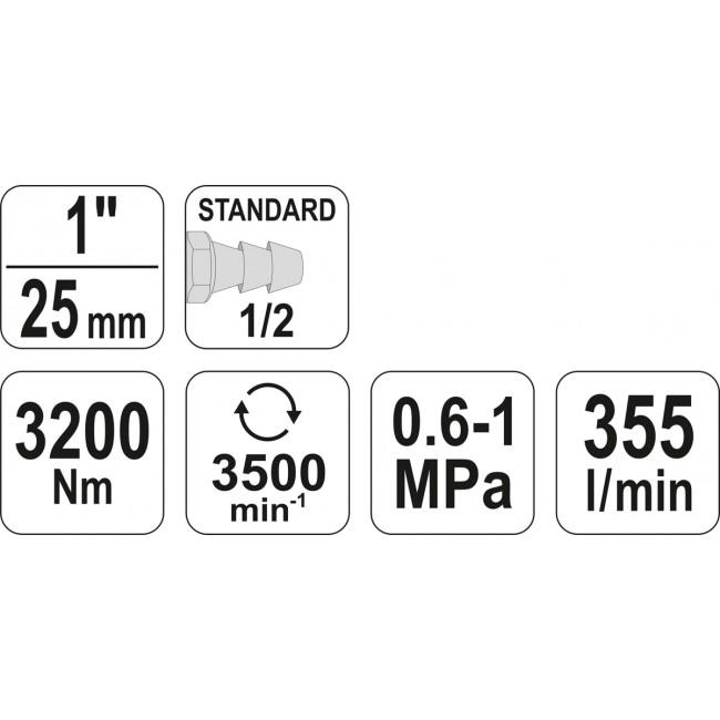 "YT-09615 - Cheie Pneumatica 1"", 3200Nm"