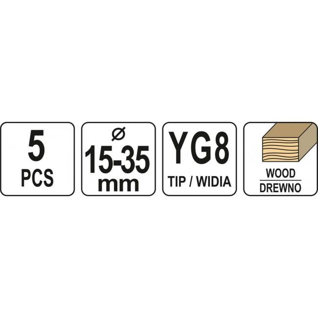 YT-33015 - Set freze pentru lemn, 15-35mm