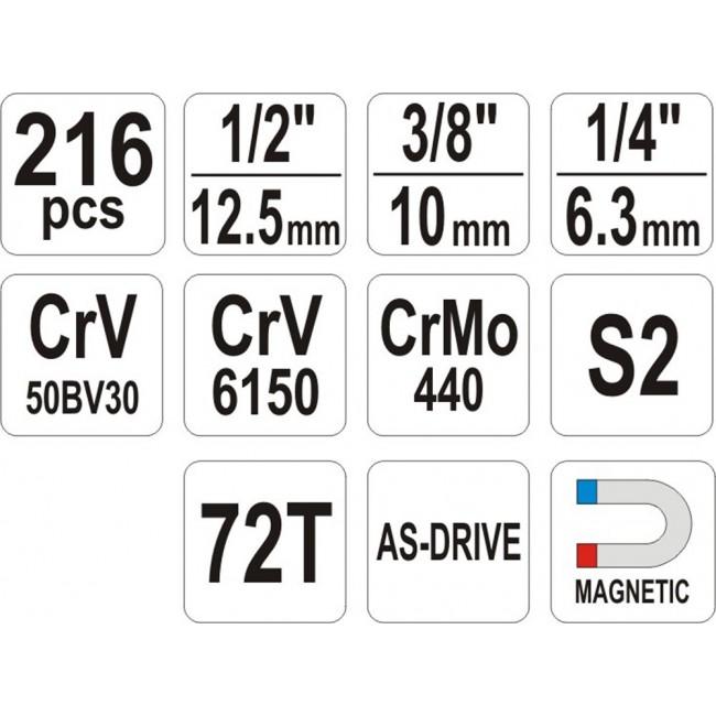 YT-38841 - Trusa Yato 216 piese