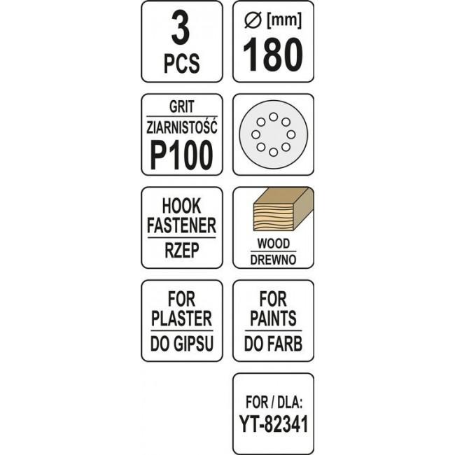 YT-83463 - DISCURI ABRAZIVE 180MM P100